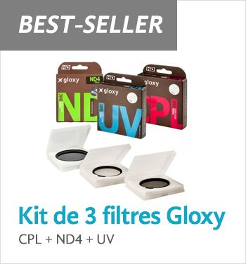 Kit de 3 filtres CPL, UV, ND4 Gloxy