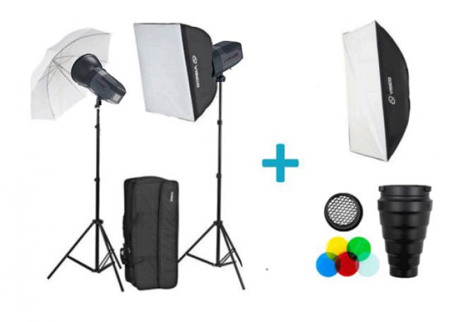 Kit studio professionnel Visico 5 sans fil TTL Plus Softbox Extra